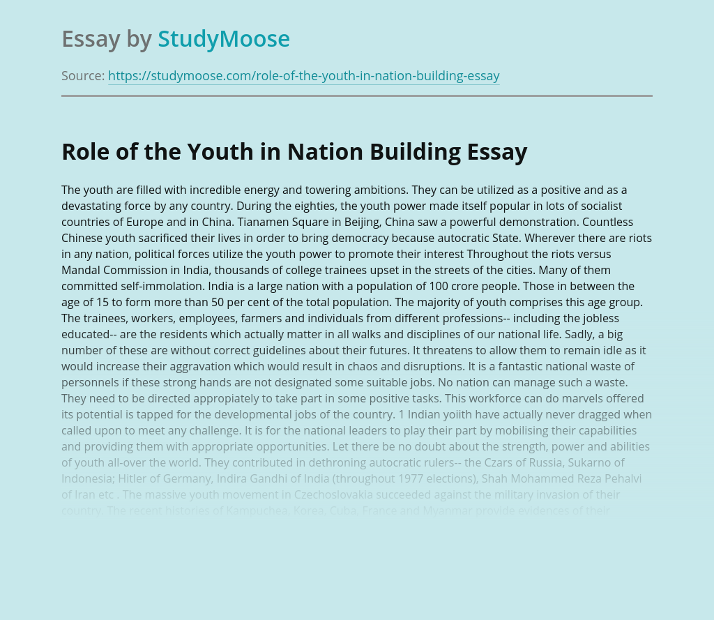 Role of the Youth in Nation Building