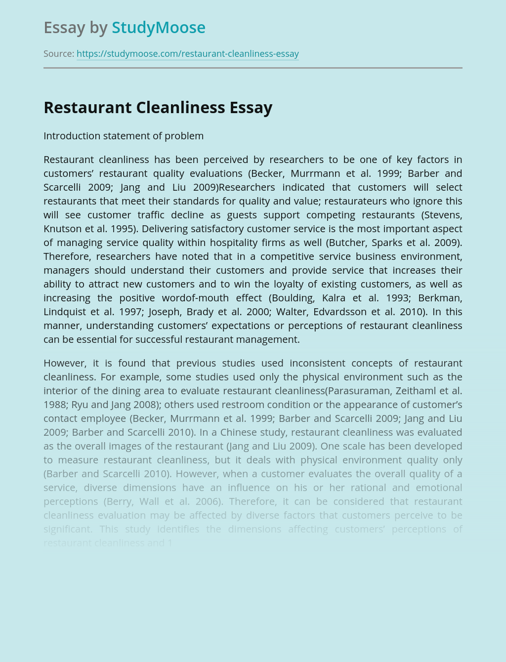 Restaurant Cleanliness