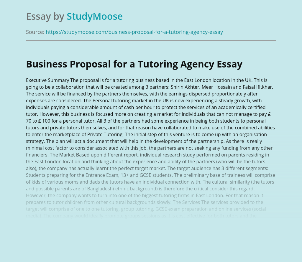 Business Proposal for a Tutoring Agency