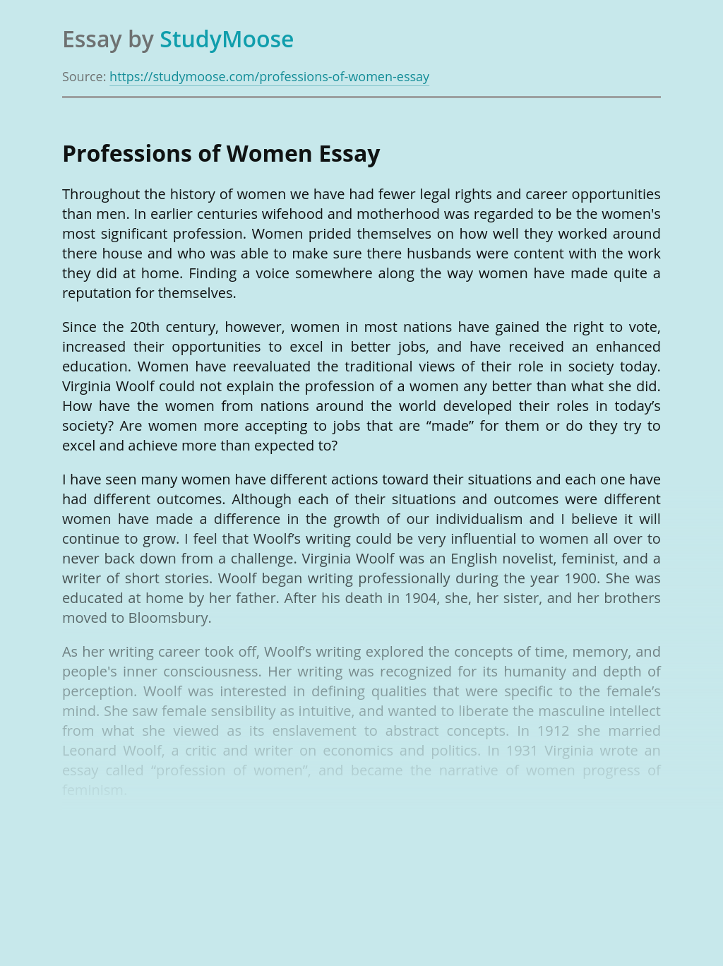 Professions of Women