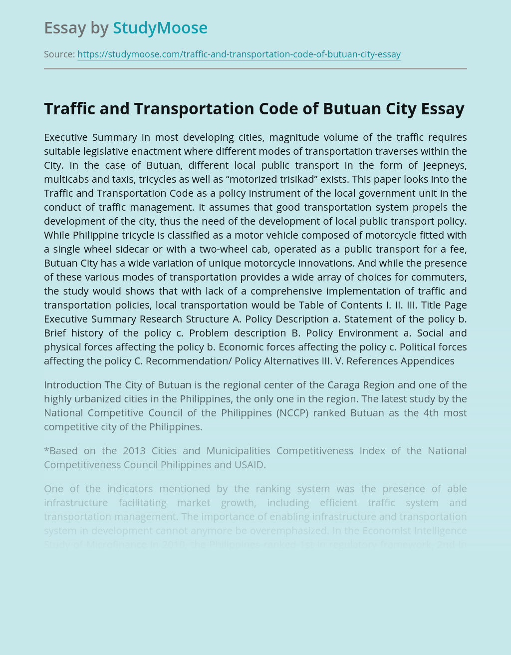 Traffic and Transportation Code of Butuan City