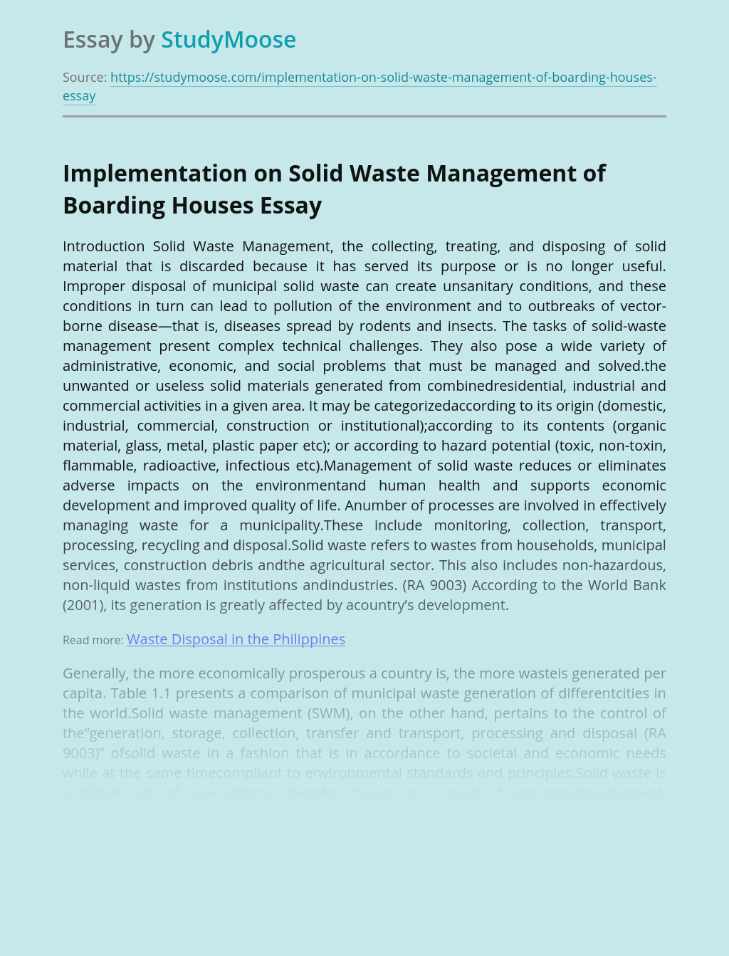Implementation on Solid Waste Management of Boarding Houses