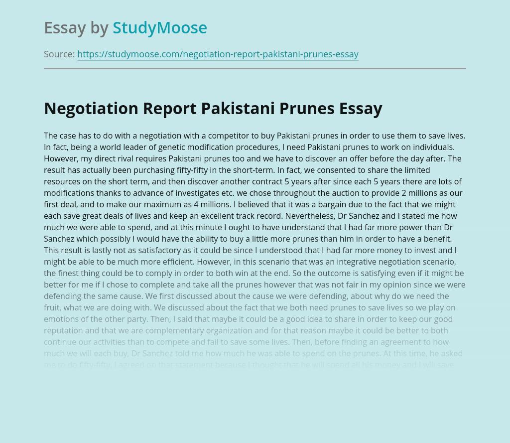 Negotiation Report Pakistani Prunes
