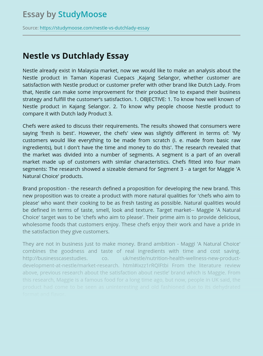Research on Nestle vs Dutchlady