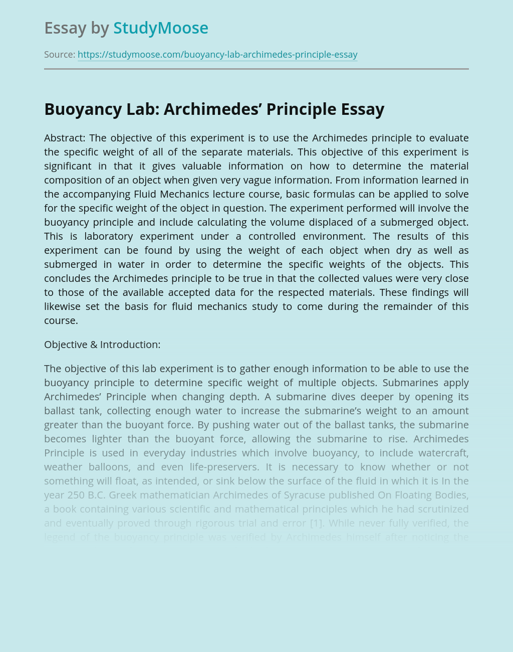 Buoyancy Lab: Archimedes' Principle