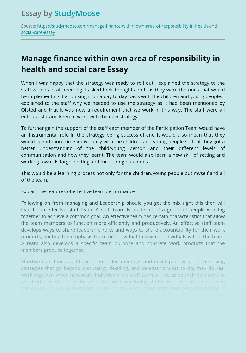 Manage finance within own area of responsibility in health and social care