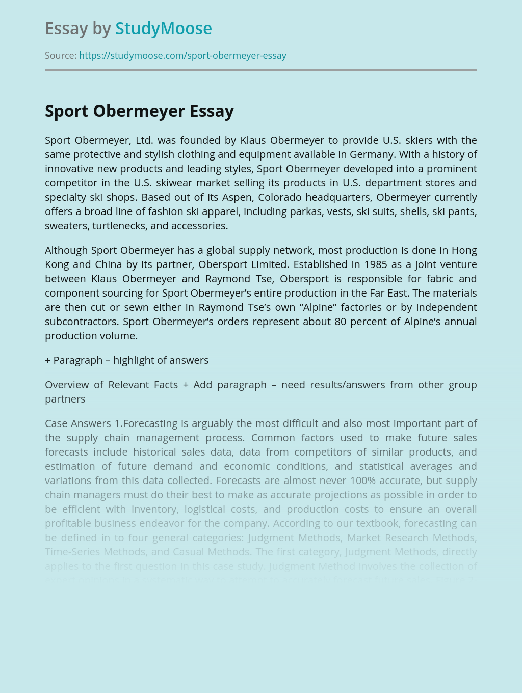 Productivity And Economic Growth of Sport Obermeyer