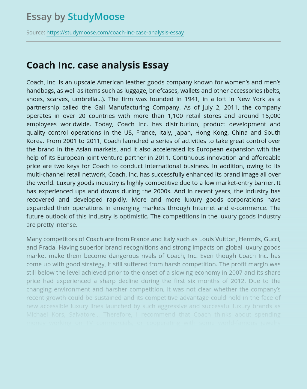 Coach Inc Business Case Analysis