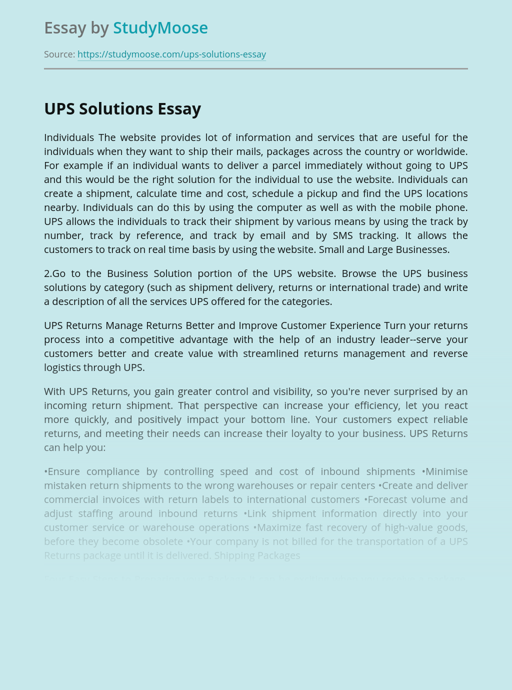 UPS Solutions Website for Business
