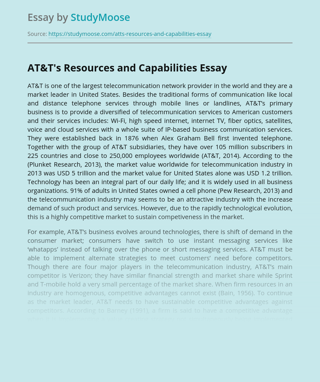 AT&T's Resources and Capabilities
