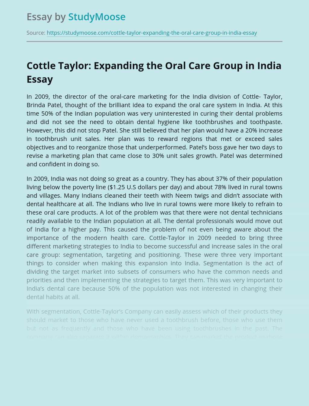 Cottle Taylor: Expanding the Oral Care Group in India