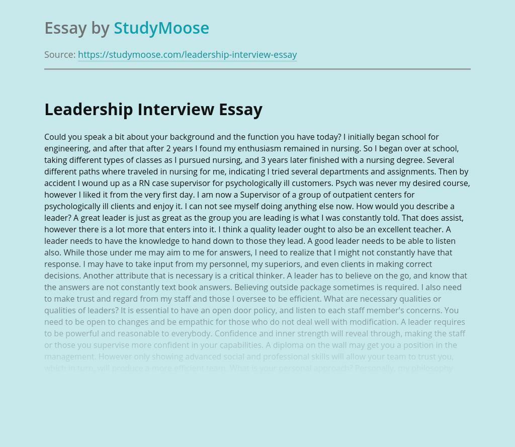 Leadership Interview