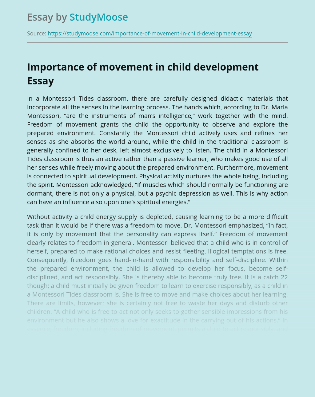 Importance of movement in child development