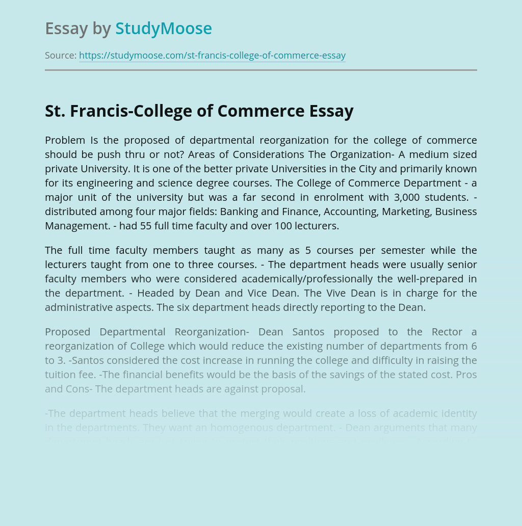 St. Francis-College of Commerce