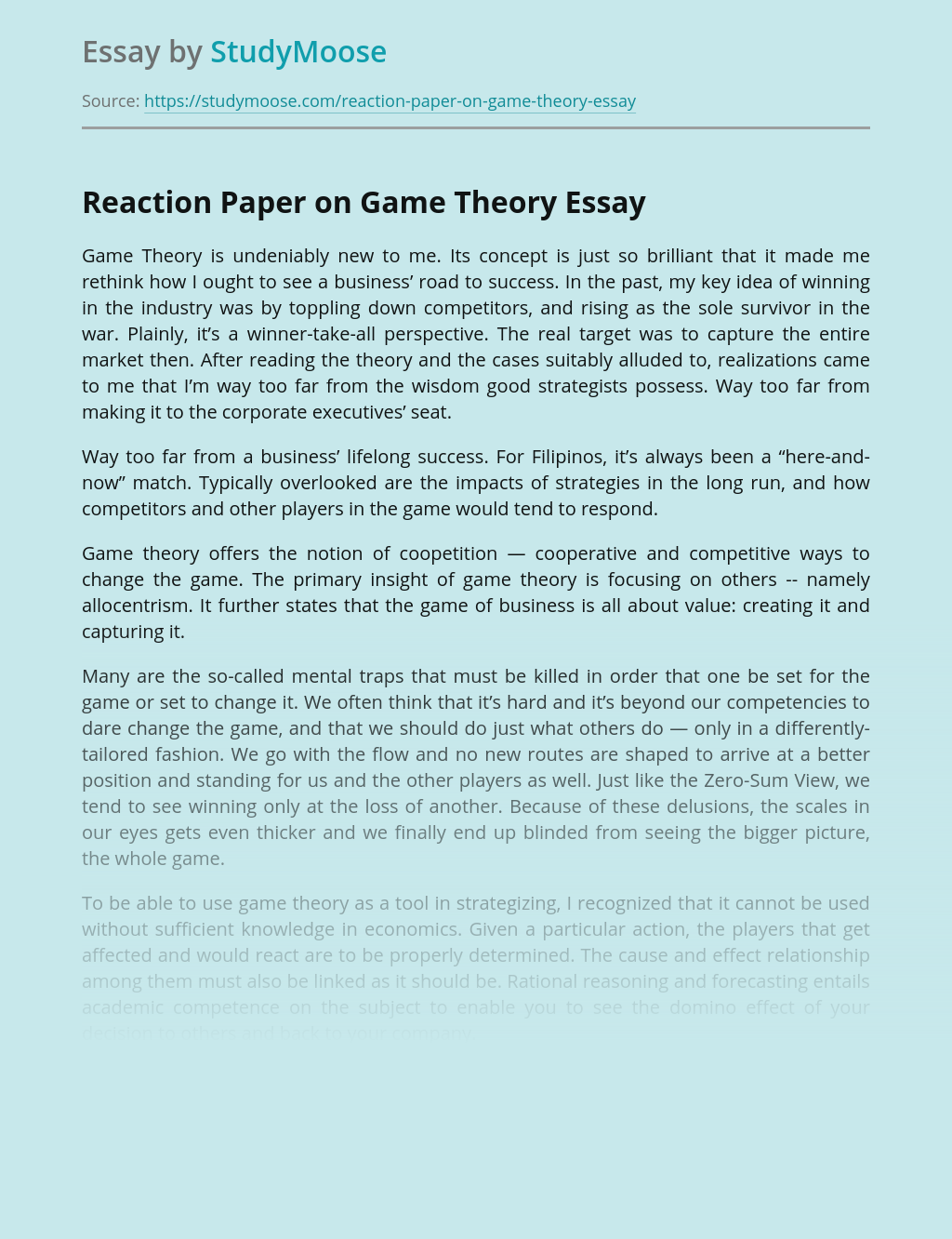 Reaction Paper on Game Theory