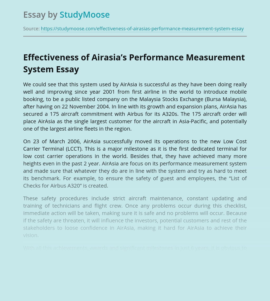 Effectiveness of Airasia's Performance Measurement System