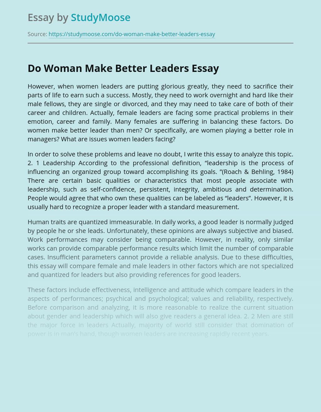 Do Woman Make Better Leaders