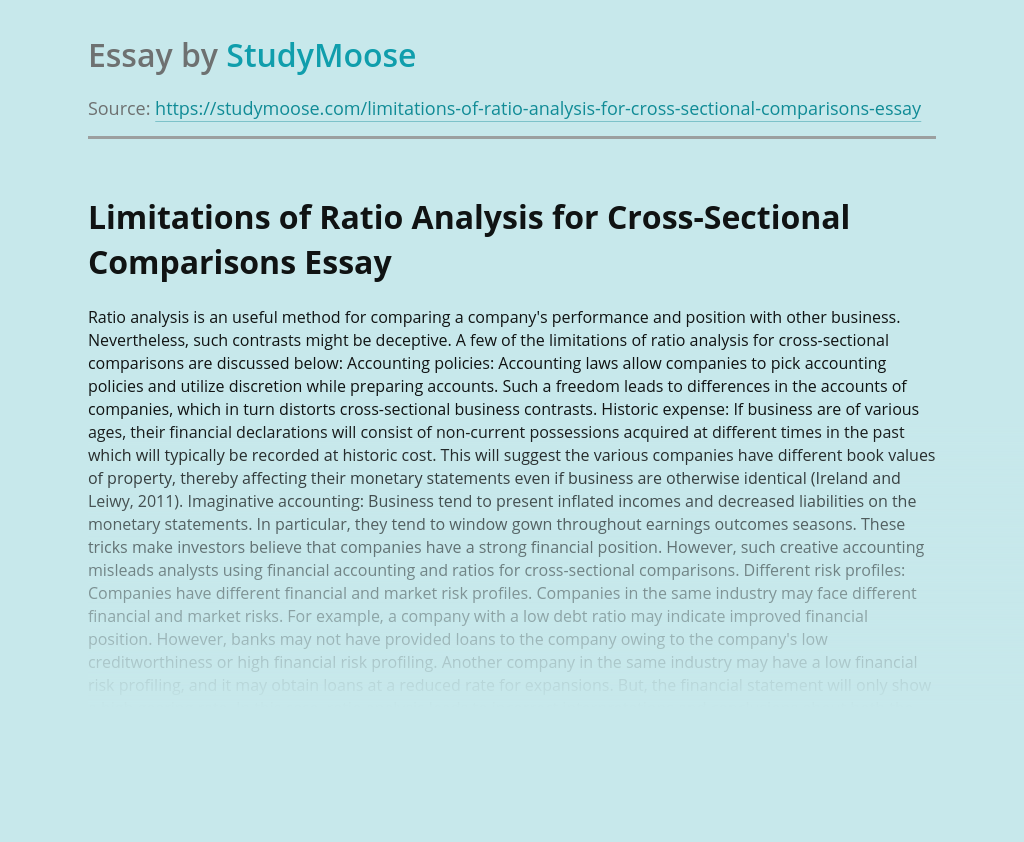Limitations of Ratio Analysis for Cross-Sectional Comparisons