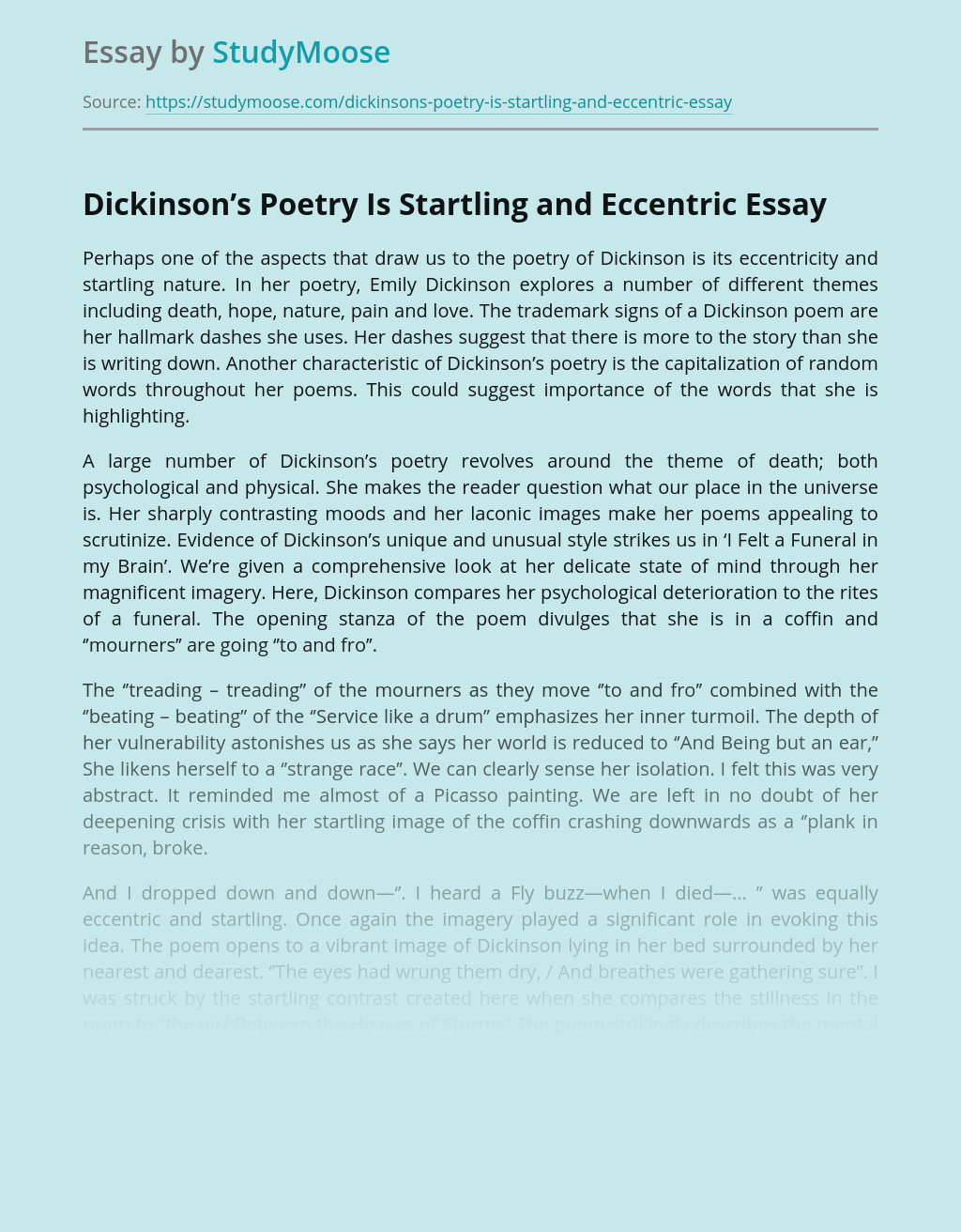 Dickinson's Poetry Is Startling and Eccentric