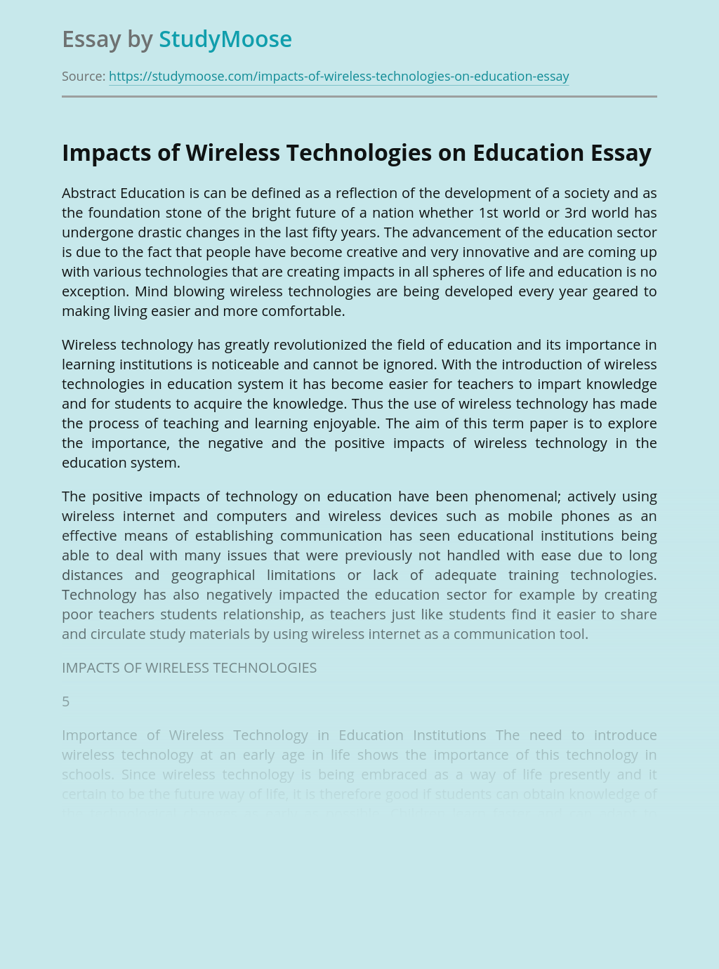 Impacts of Wireless Technologies on Education