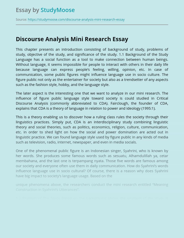 Discourse Analysis Mini Research