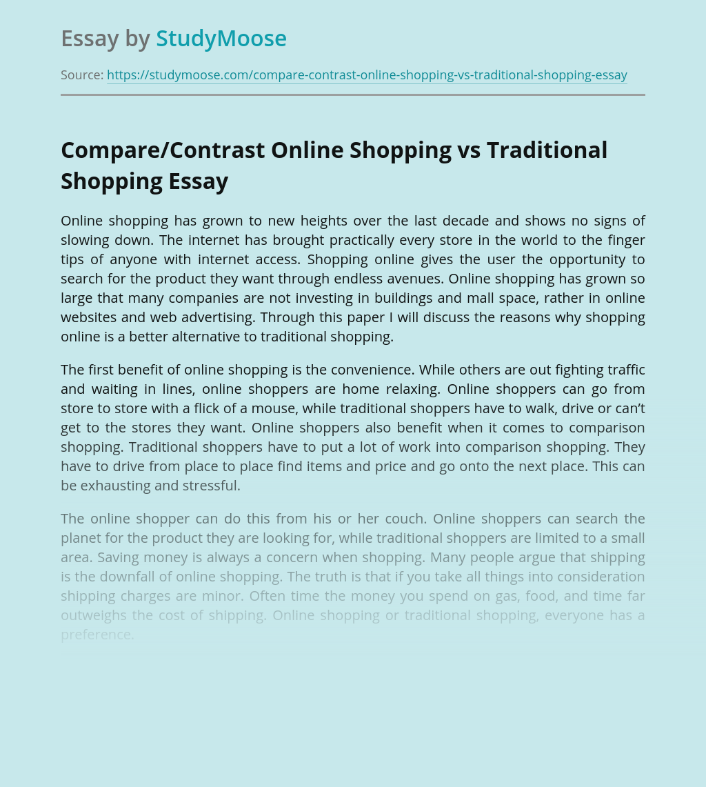 Compare/Contrast Online Shopping vs Traditional Shopping