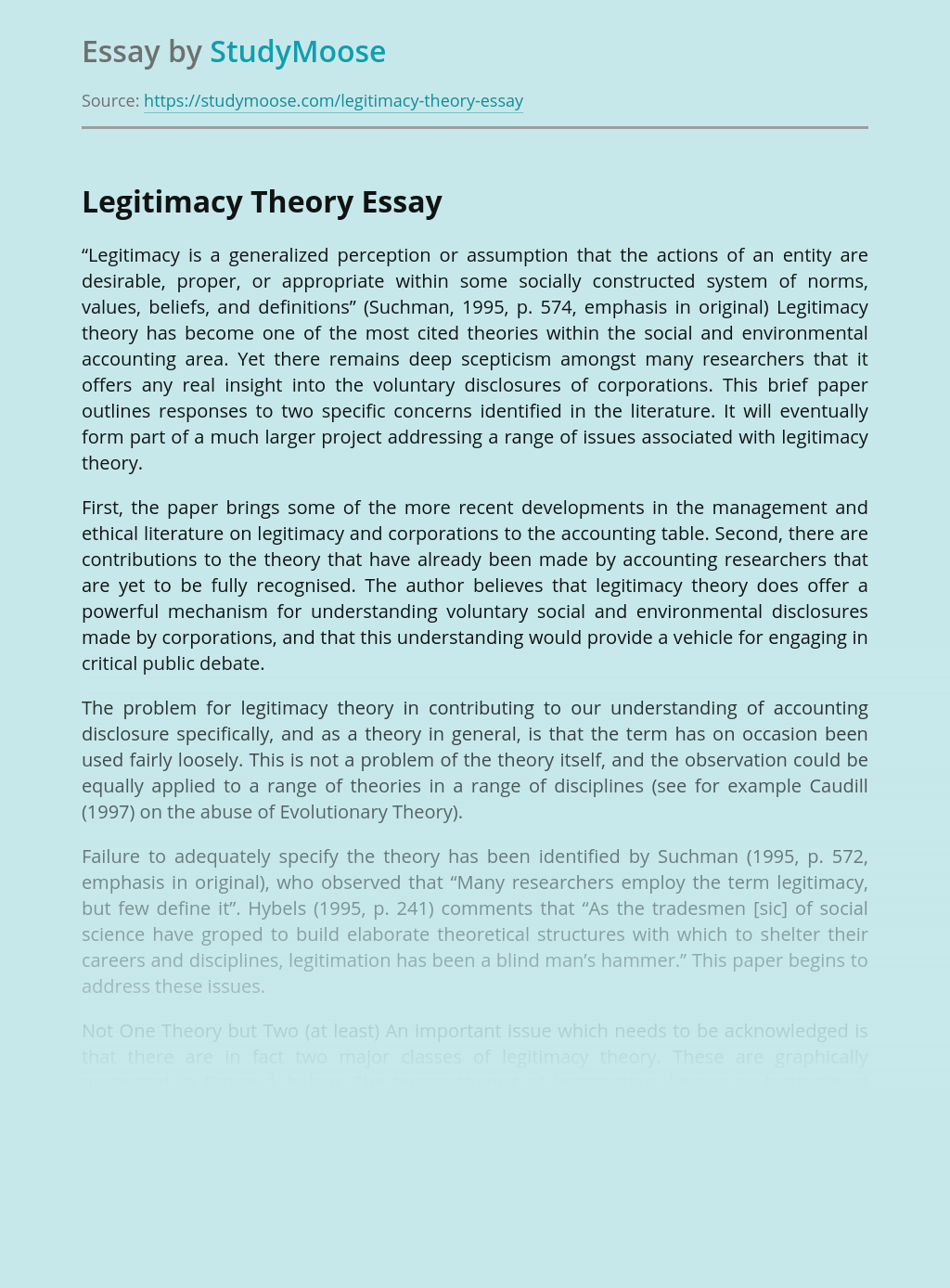 Power of Legitimacy Theory