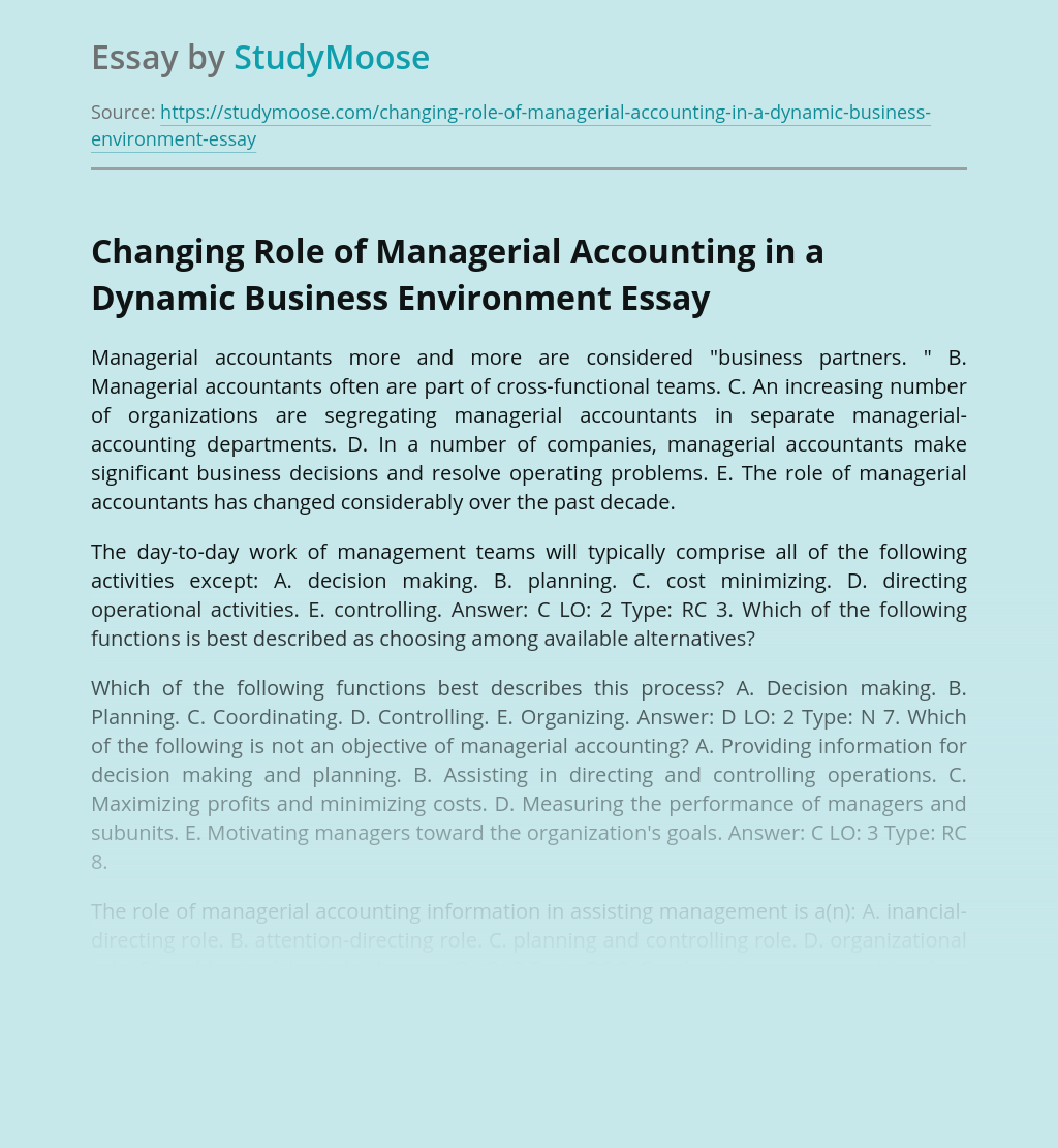 Changing Role of Managerial Accounting in a Dynamic Business Environment