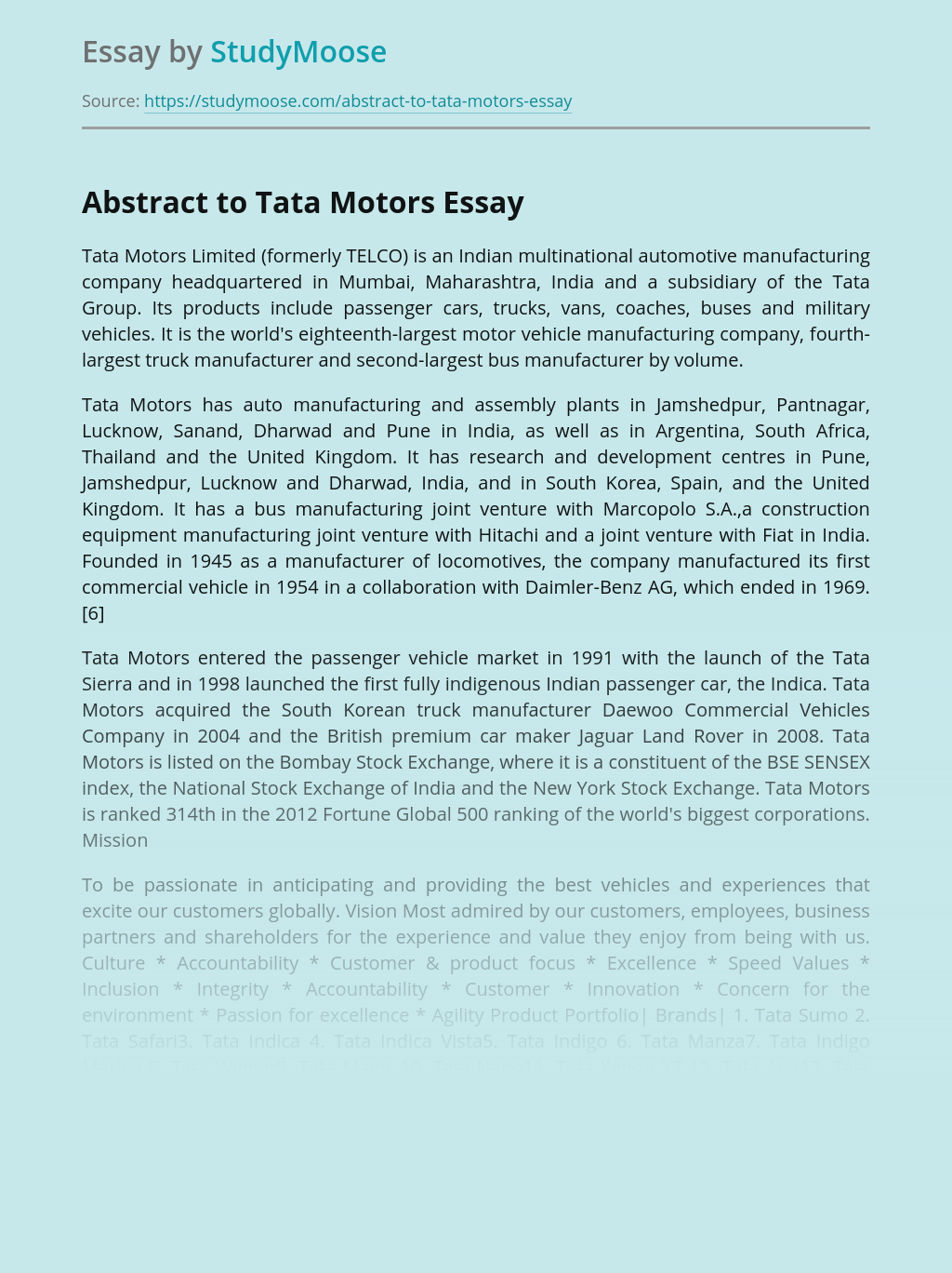 Abstract to Tata Motors Limited
