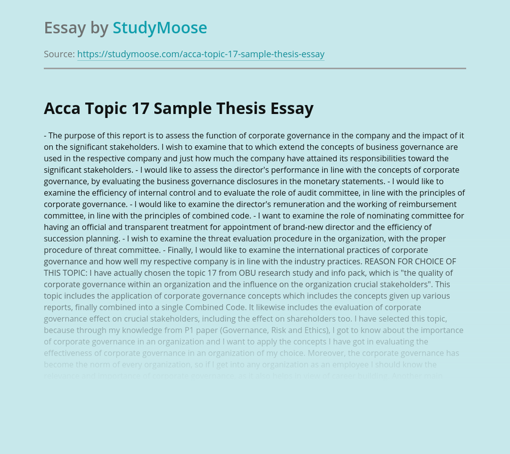 Acca Topic 17 Sample Thesis