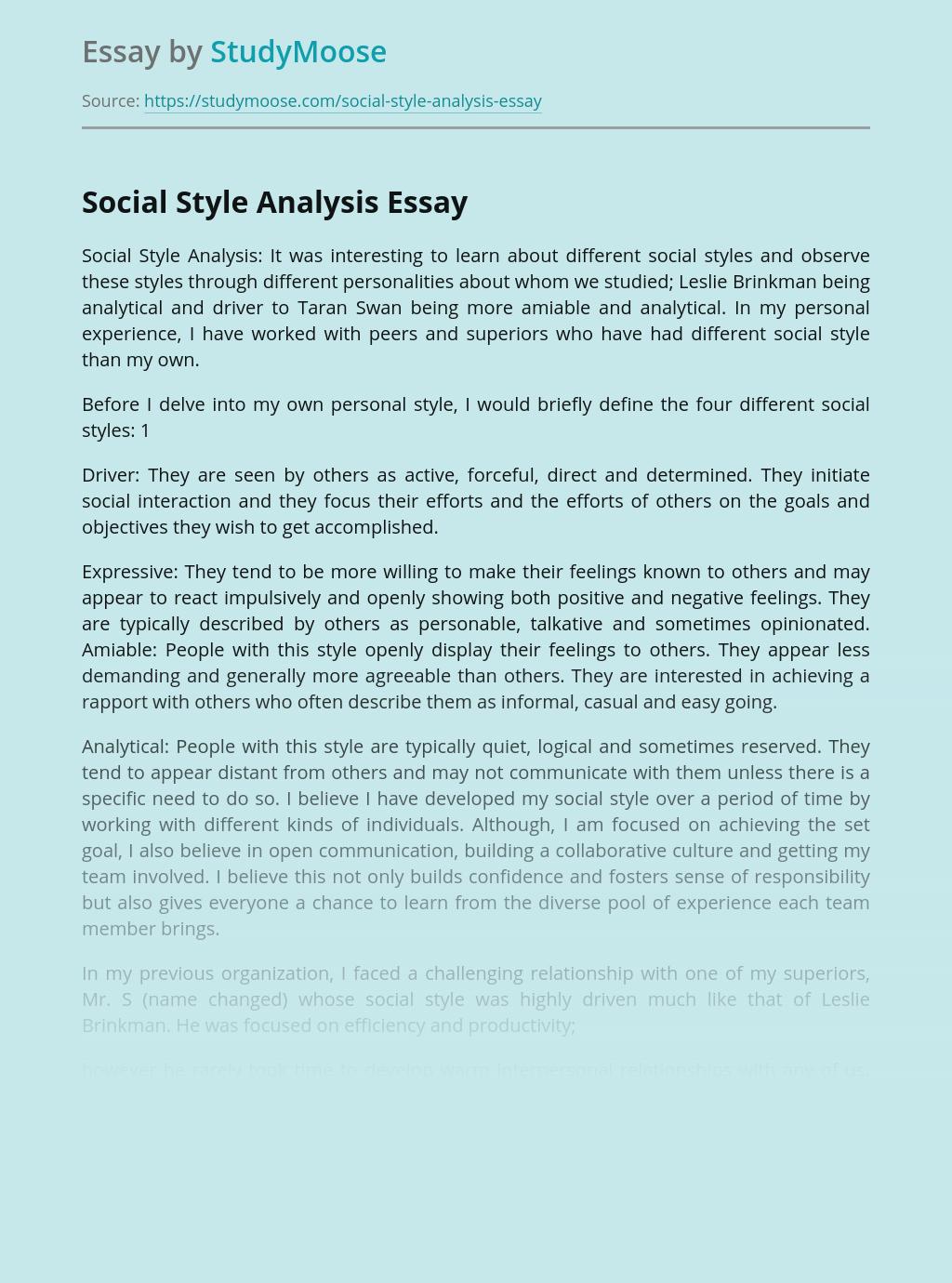 Social Style Analysis