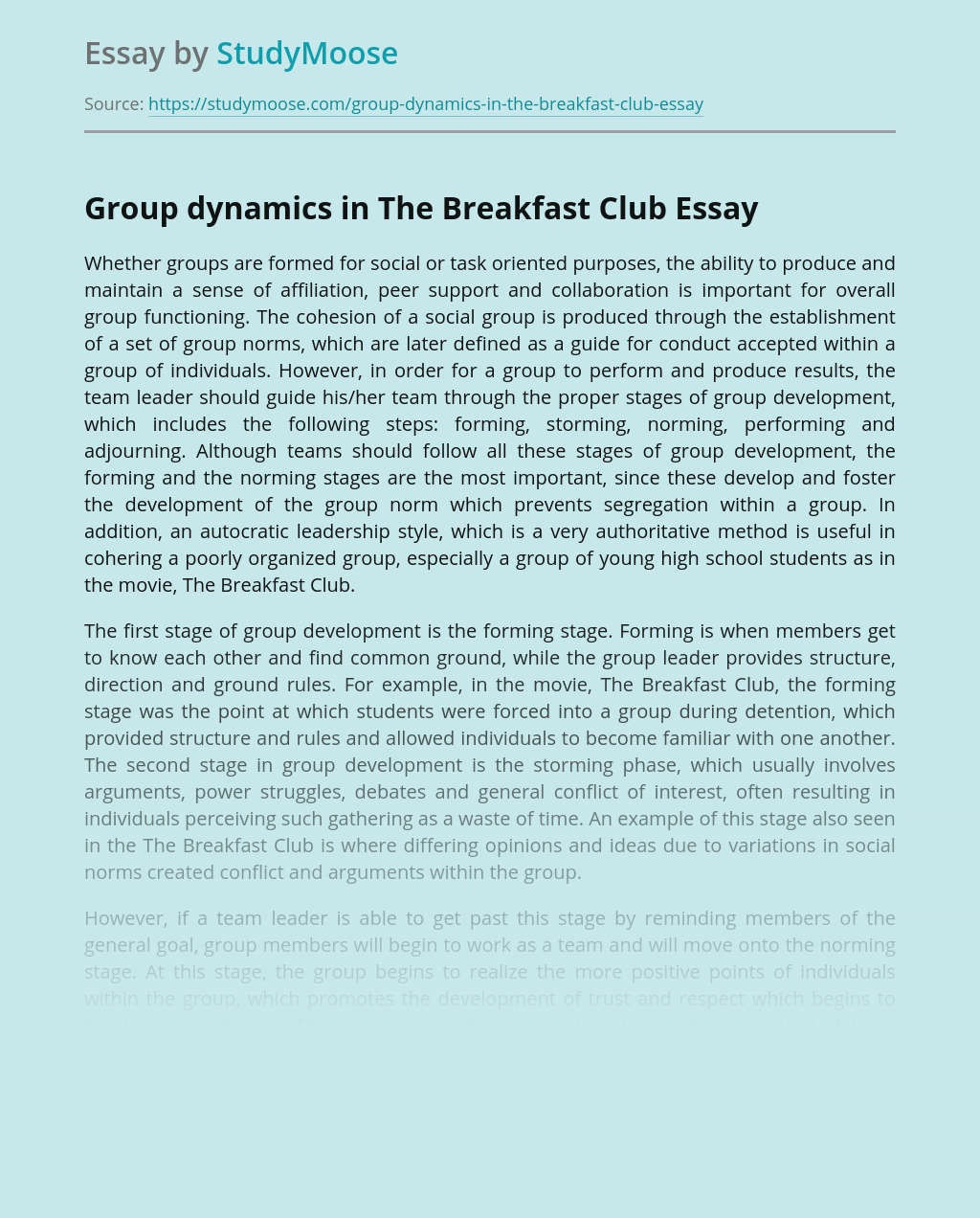 Group dynamics in The Breakfast Club