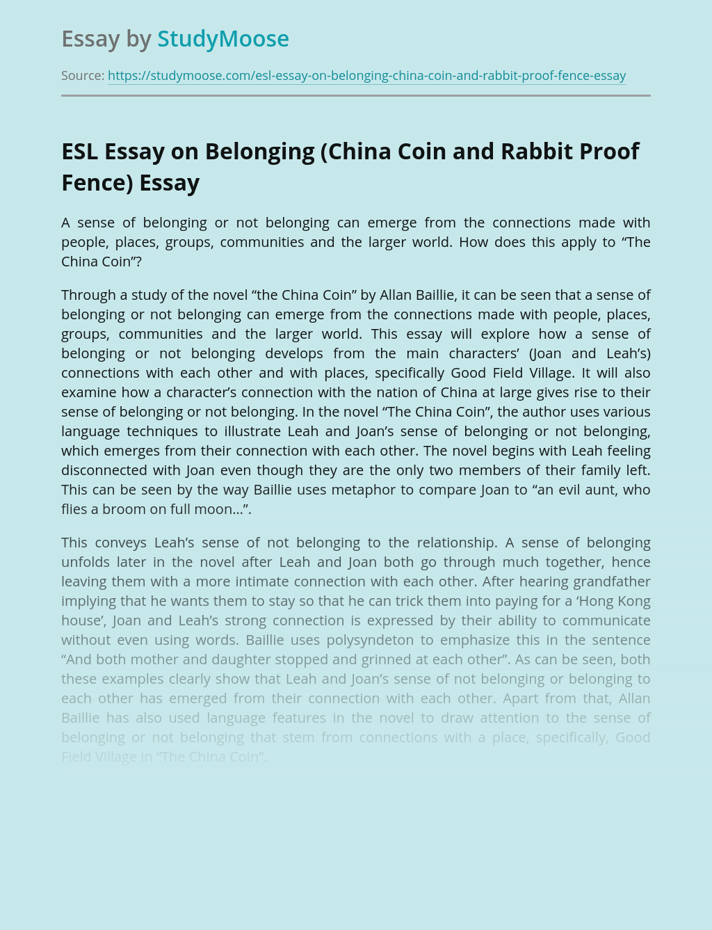 ESL Essay on Belonging (China Coin and Rabbit Proof Fence)