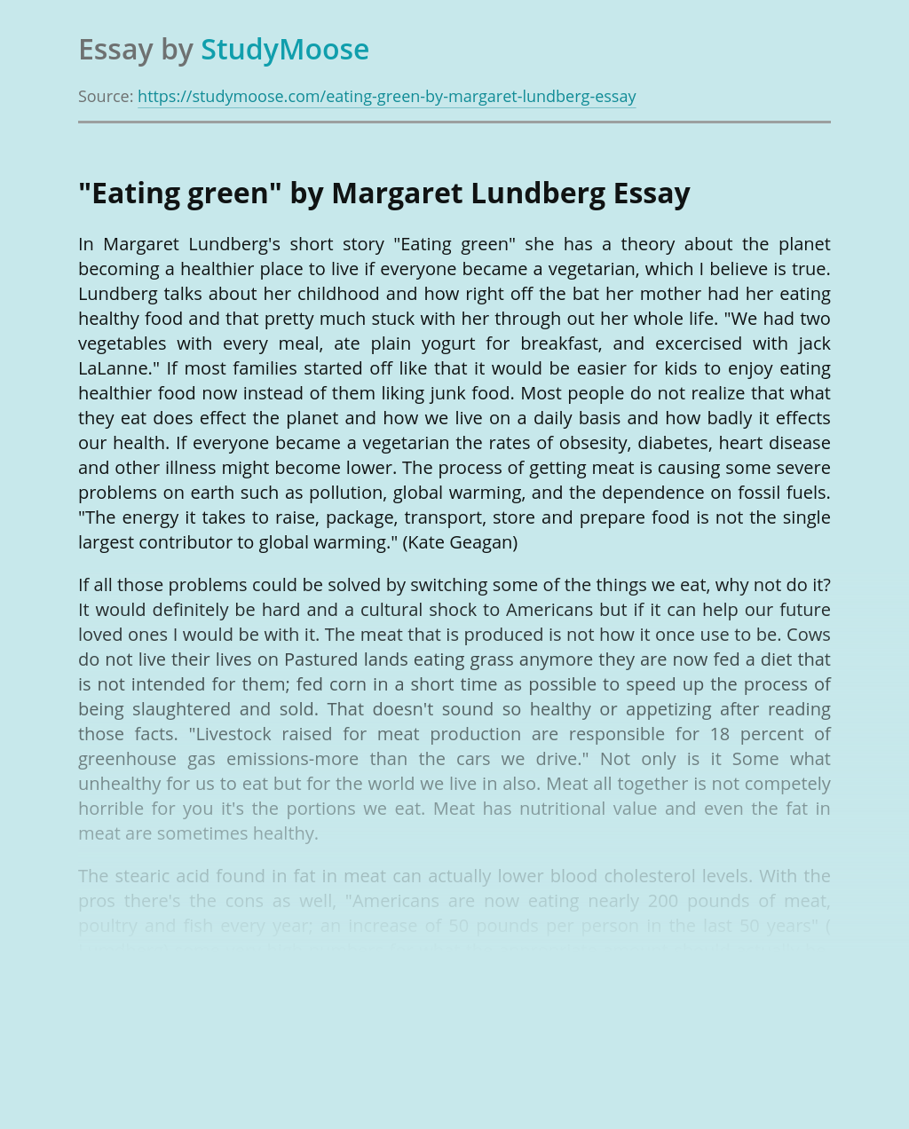 Theme of Vegetarianism in a Book Eating Green