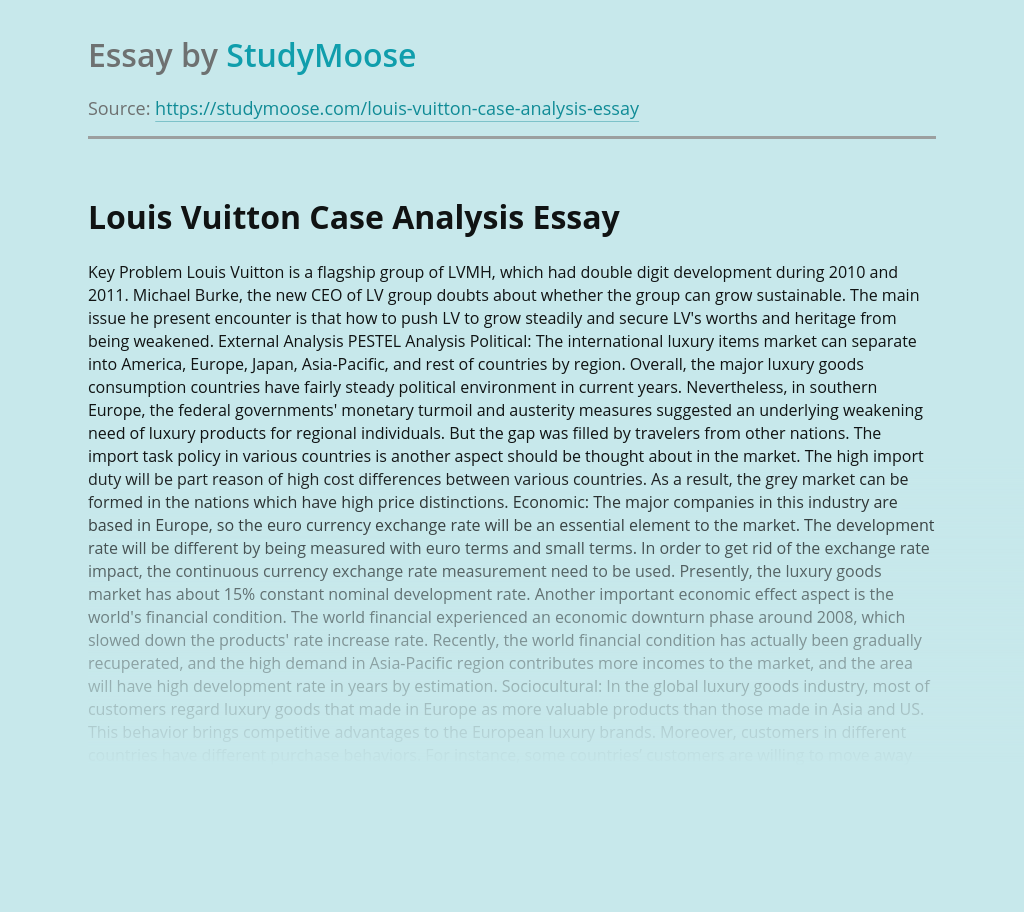 Louis Vuitton Case Analysis