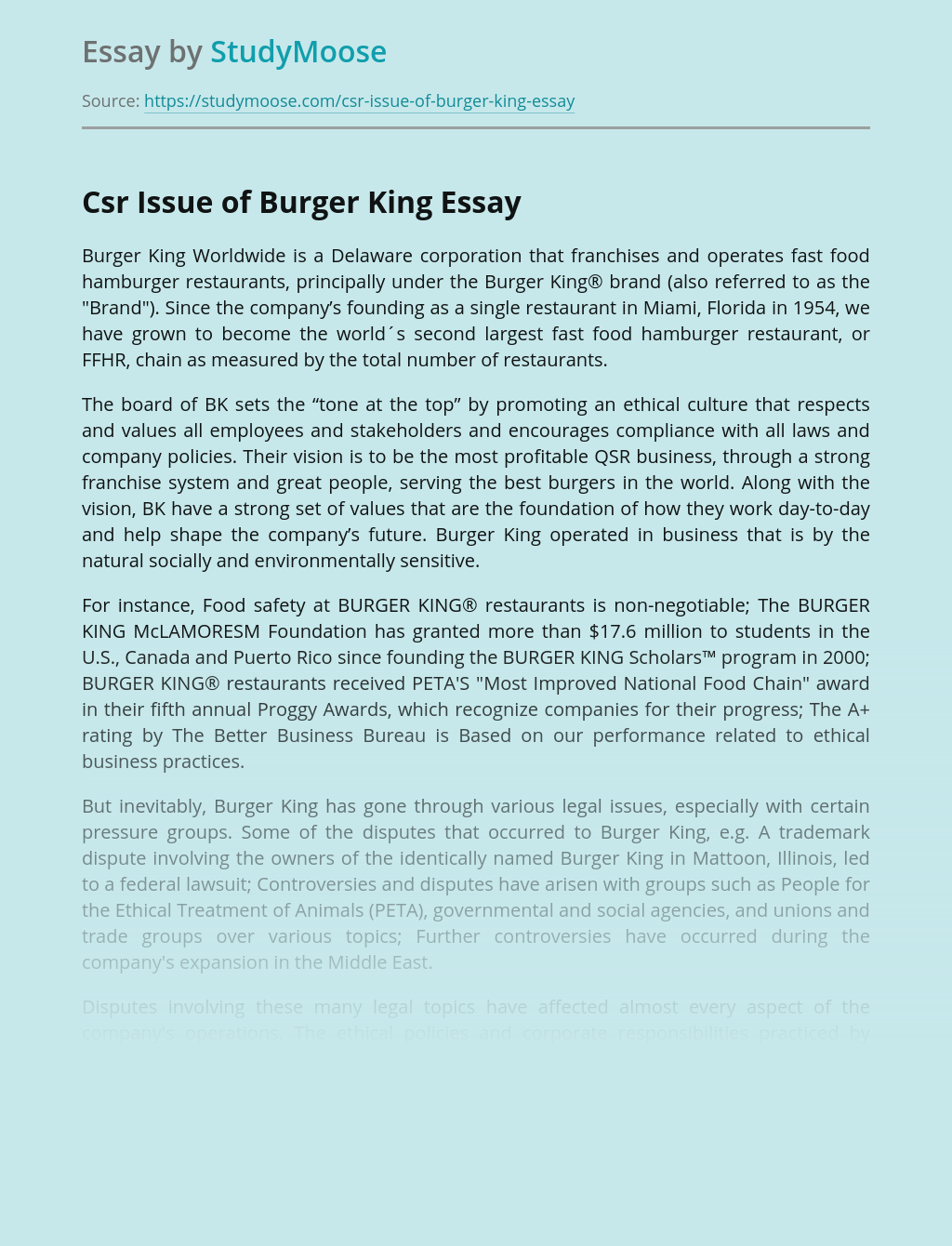 CSR Issue of Burger King Fast Food Restaurants