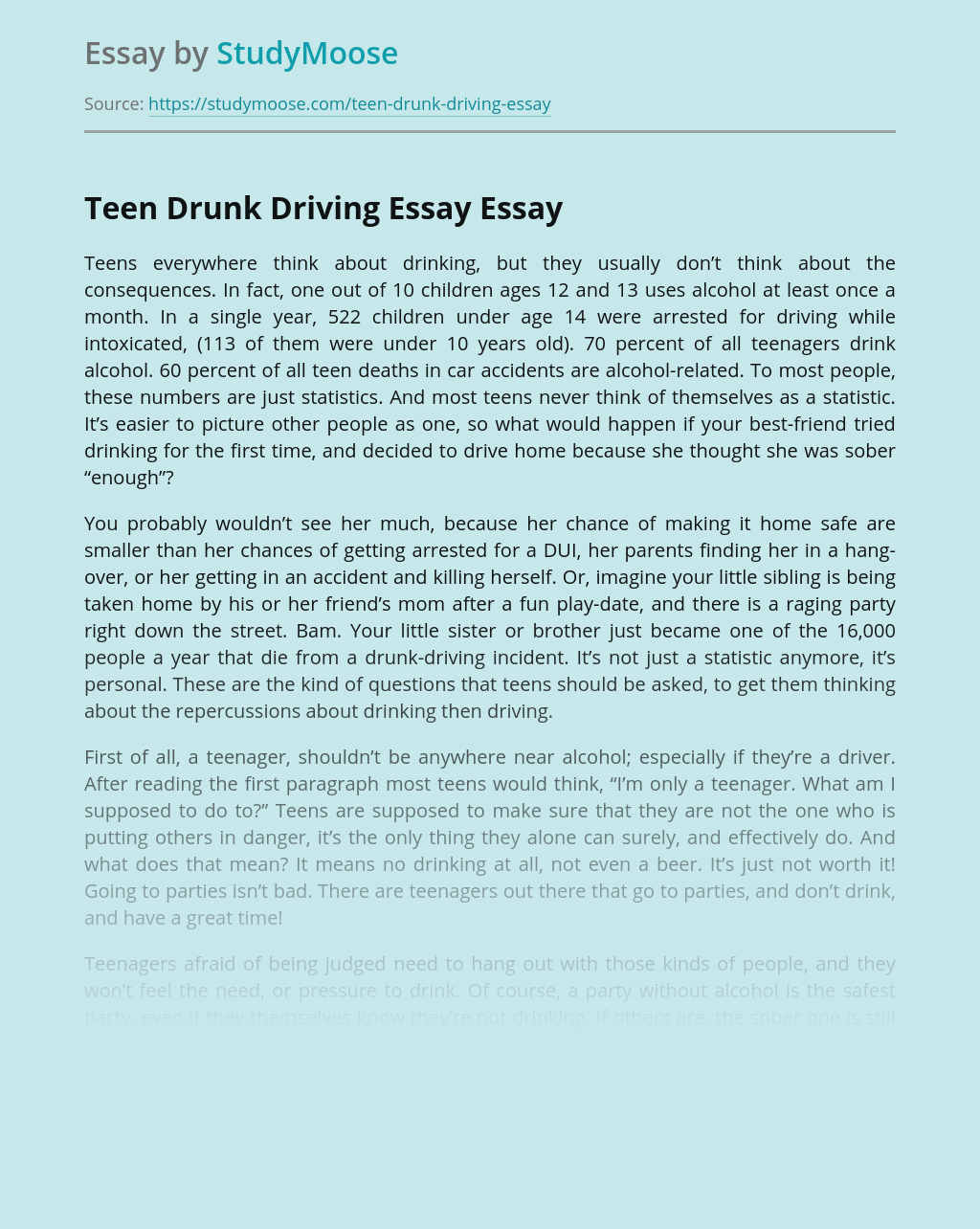 Drinking and driving essays business research topics for college students quantitative