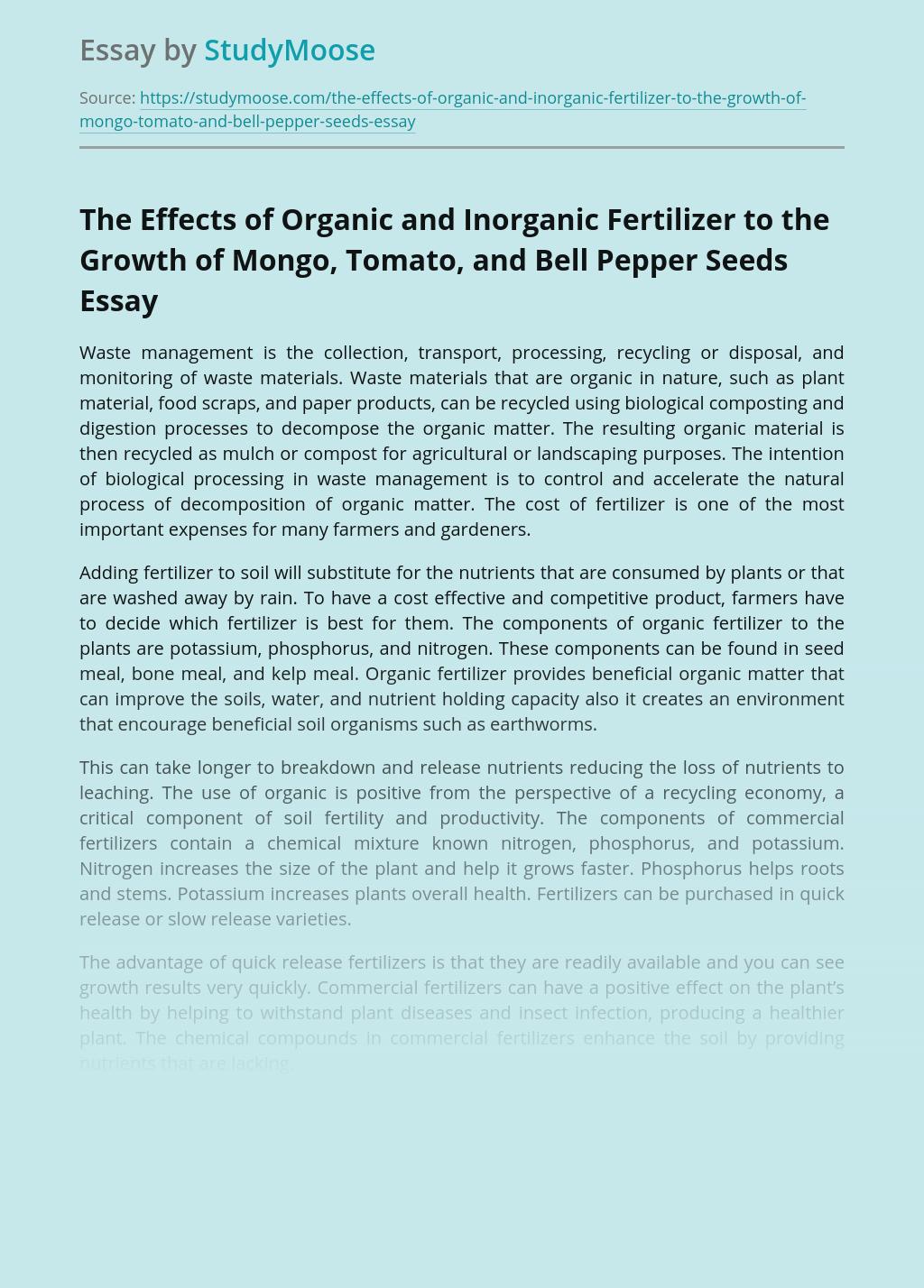 Organic and Inorganic Fertilizer