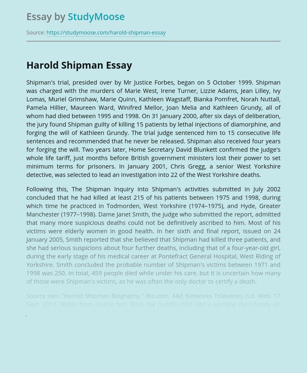Persona of Harold Shipman