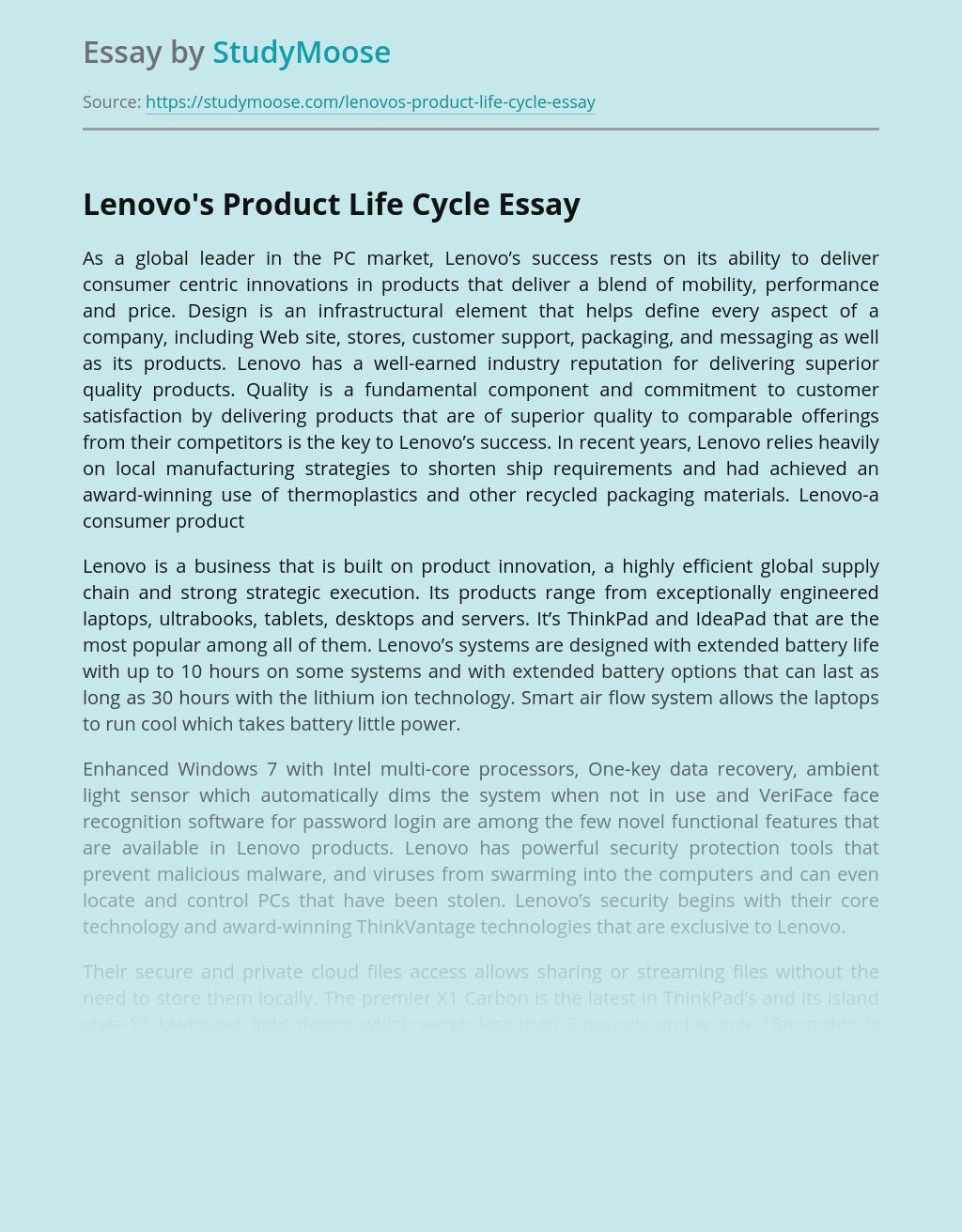Lenovo's Product Life Cycle