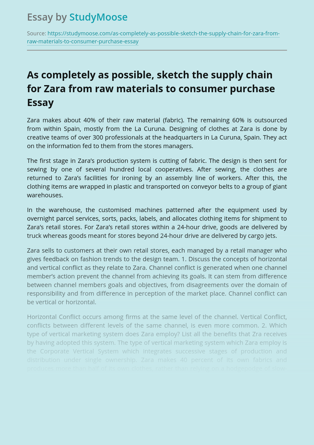 As completely as possible, sketch the supply chain for Zara from raw materials to consumer purchase
