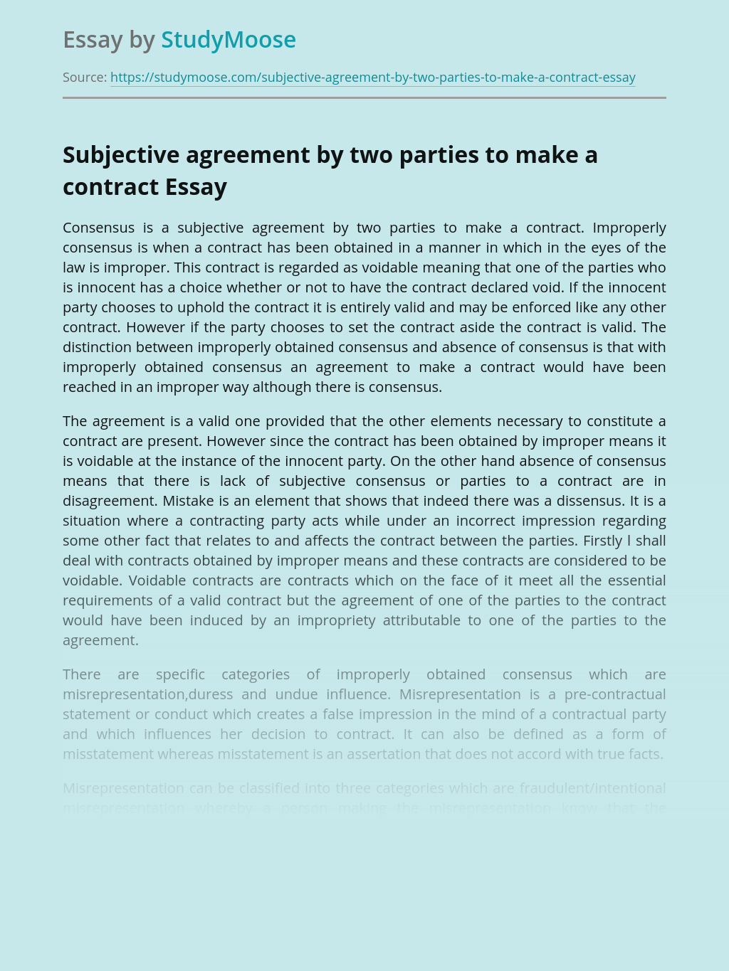 Subjective agreement by two parties to make a contract