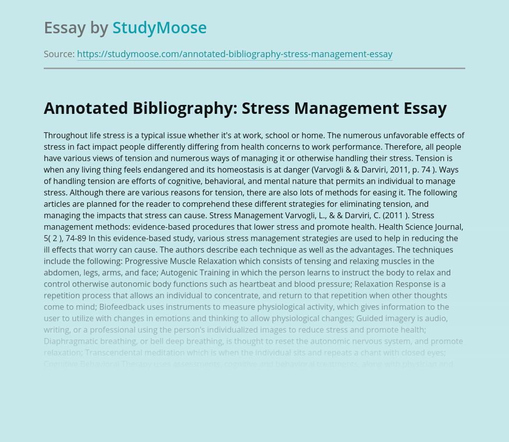 Annotated Bibliography: Stress Management