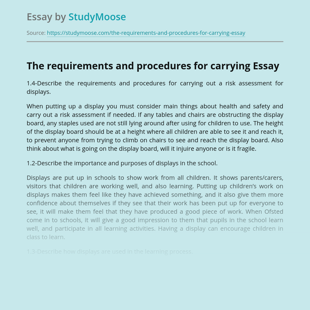 The requirements and procedures for carrying