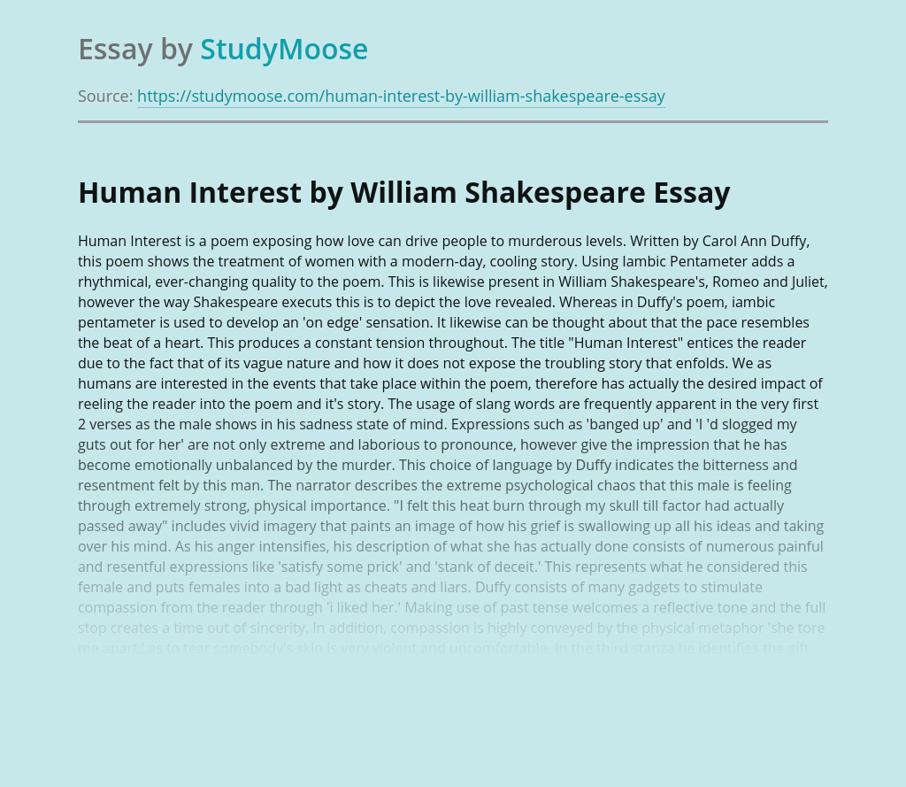 Human Interest by William Shakespeare
