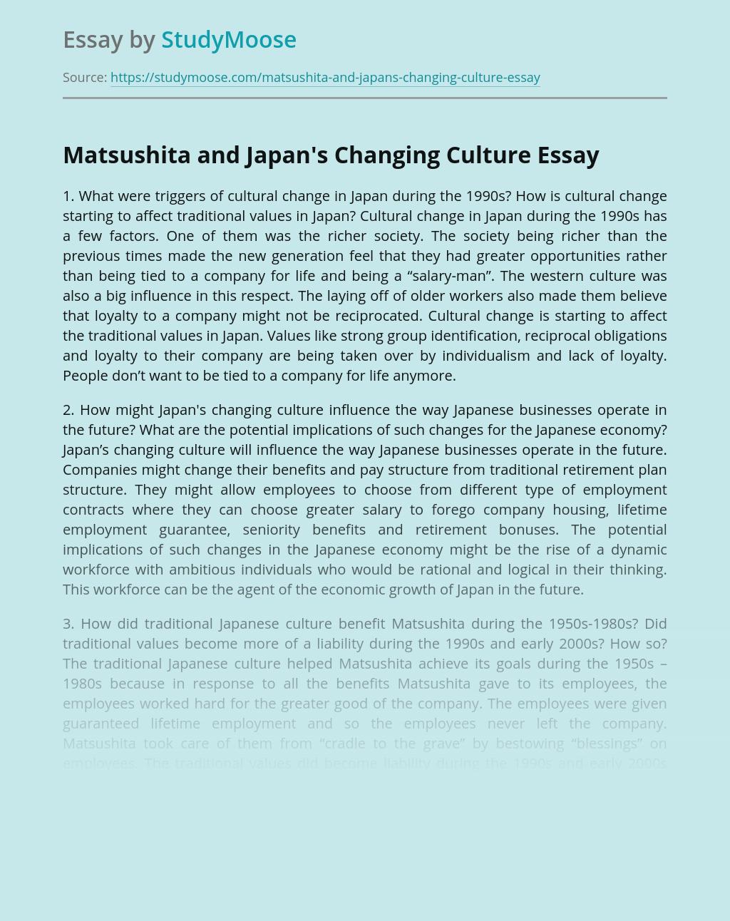 Matsushita and Japan's Changing Culture