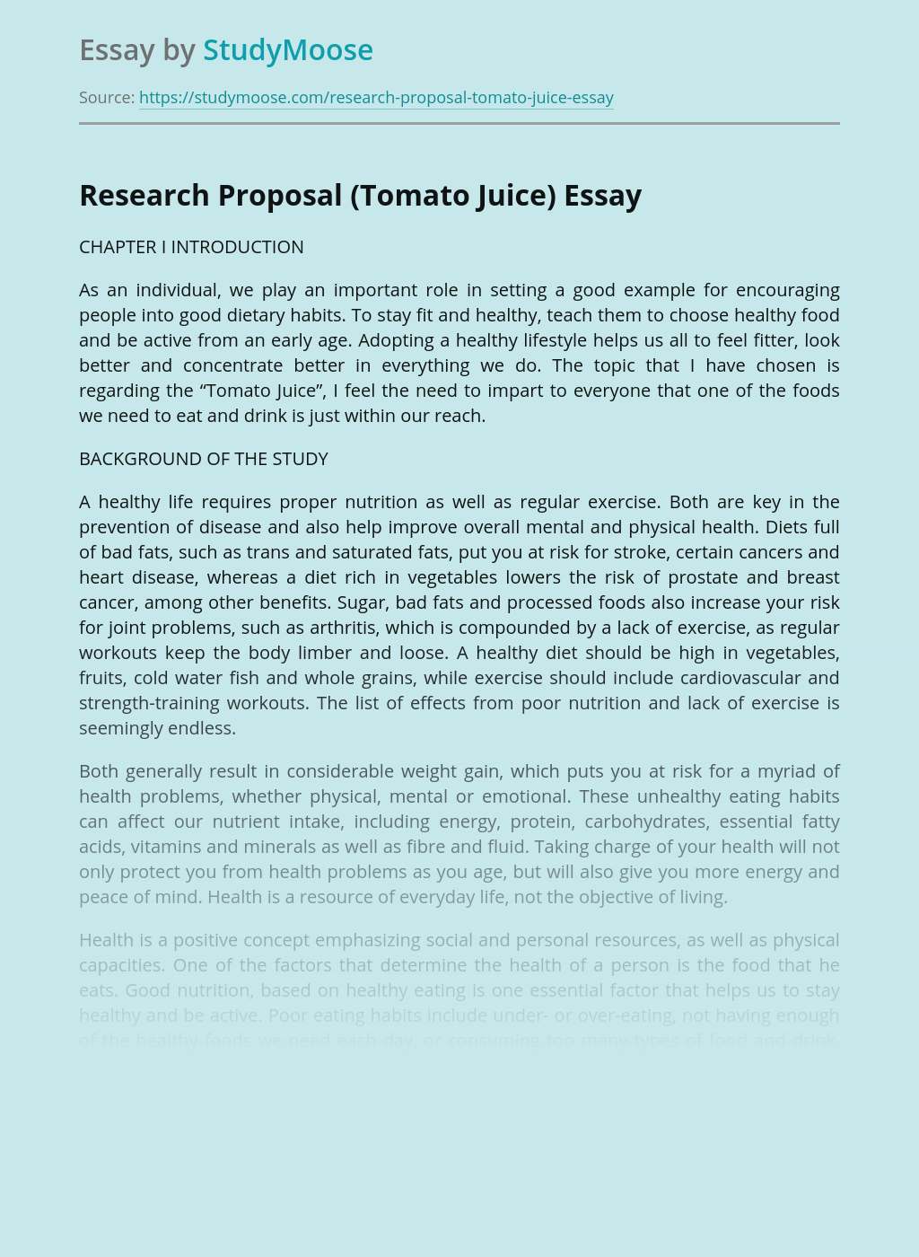 Research Proposal (Tomato Juice)