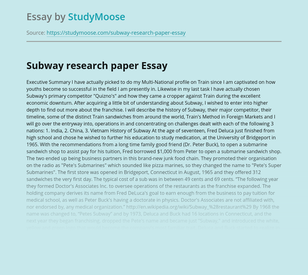 Subway research paper