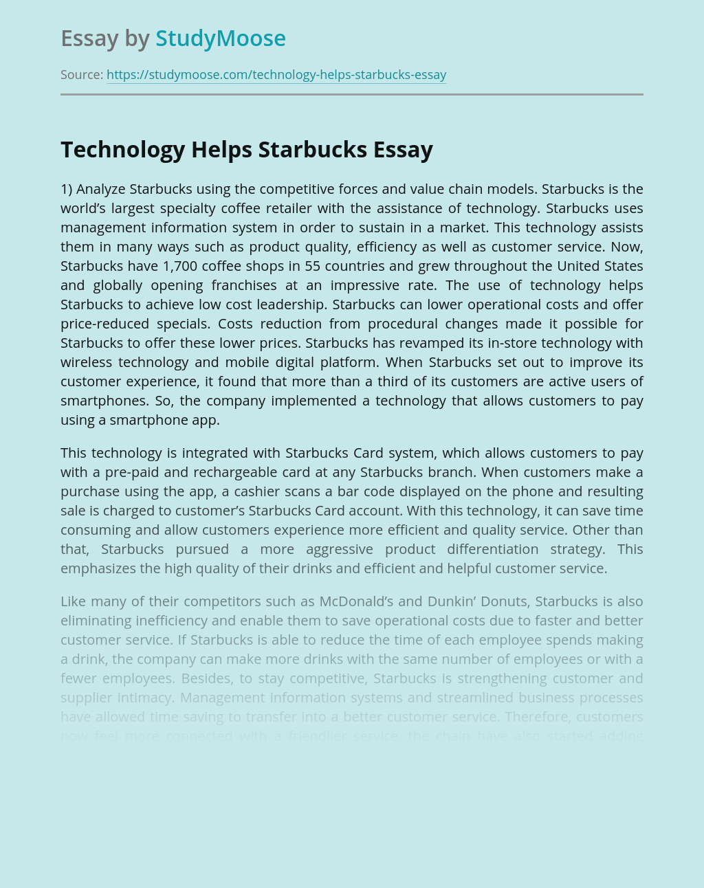 Technology Helps Starbucks
