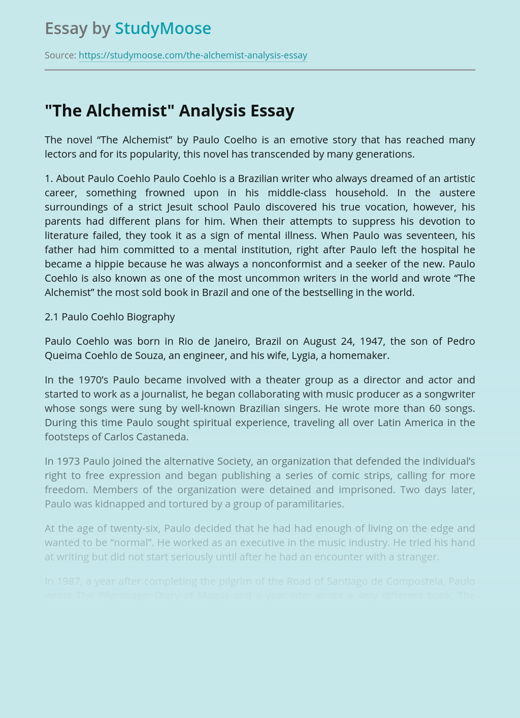 Paulo coelho biography essay sample outline for research paper on global warming